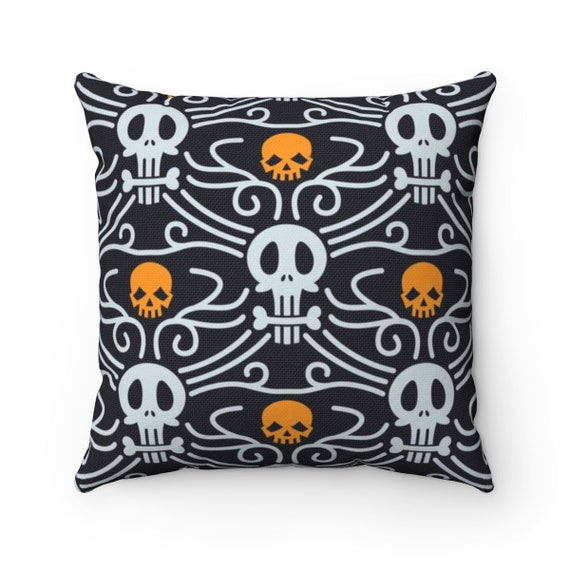 Day Of The Dead Square Pillow, Vintage Inspired Traditional Pattern For Día De Muertos
