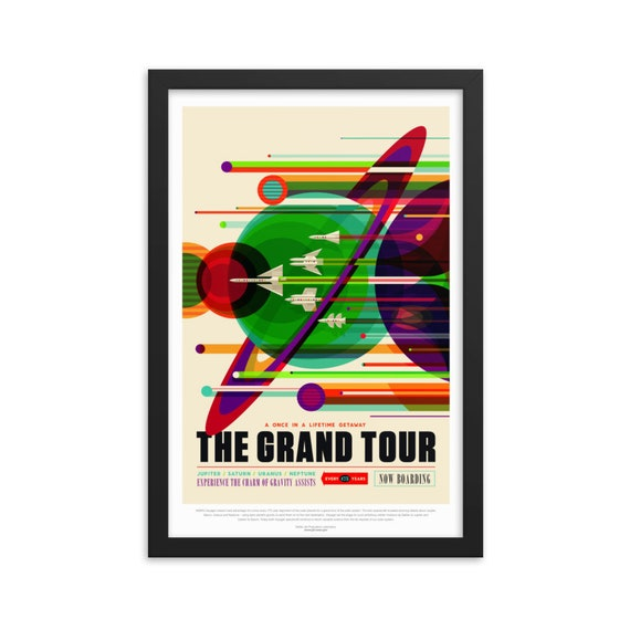 """Voyager's Grand Tour, 12"""" x18"""" Framed Poster, Black Wood Frame, Acrylic Covering, Fake Vintage/Retro Style NASA Travel Poster, Room Decor"""