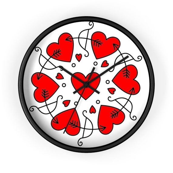 """Circle Of Love, 10"""" Black Wall Clock, Inspired From Vintage Postcard"""