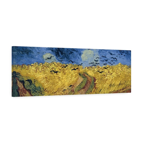 "Wheat Field With Crows 36""x12"" Canvas Gallery Wrap, Vincent Van Gogh, 1890"