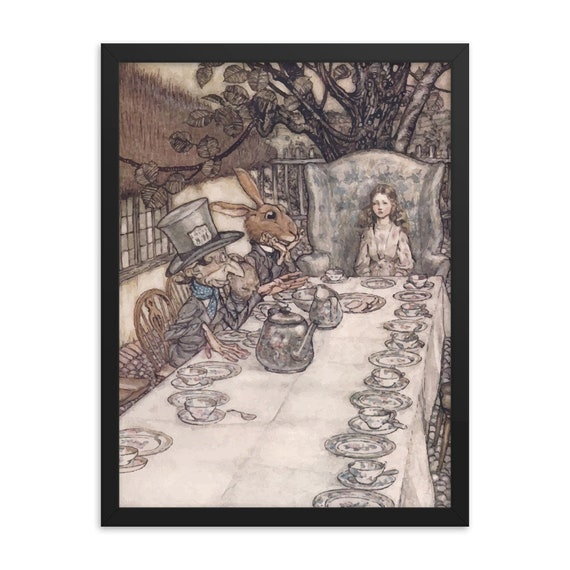 "Alice At The Tea Party, 18"" x 24"" Framed Poster, Black Wood Frame, Acrylic Covering, Arthur Rackham, Alice In Wonderland, Room Decor"