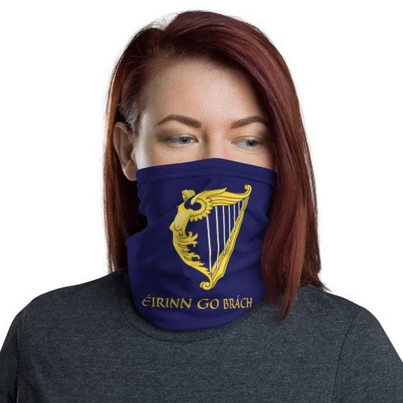 Eirinn Go Brach, Neck Gaiter, Blue Harp Flag, Coat Of Arms, Irish Pride