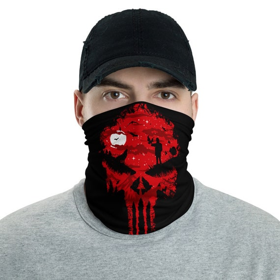Red Night Skull, Neck Gaiter, Full Moon, Wolf, Headband, Bandana