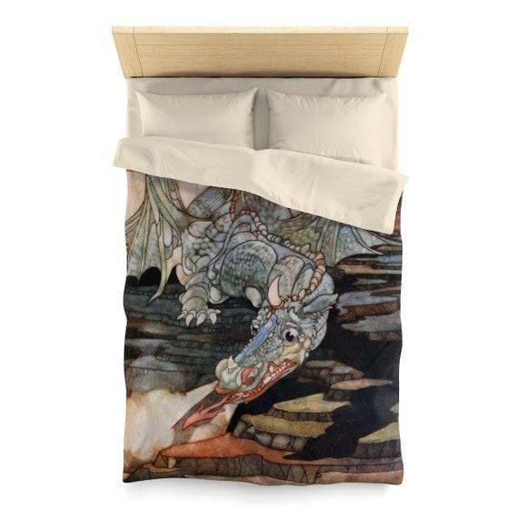 Here Be Dragons, Duvet Cover, Vintage Art Nouveau Illustration