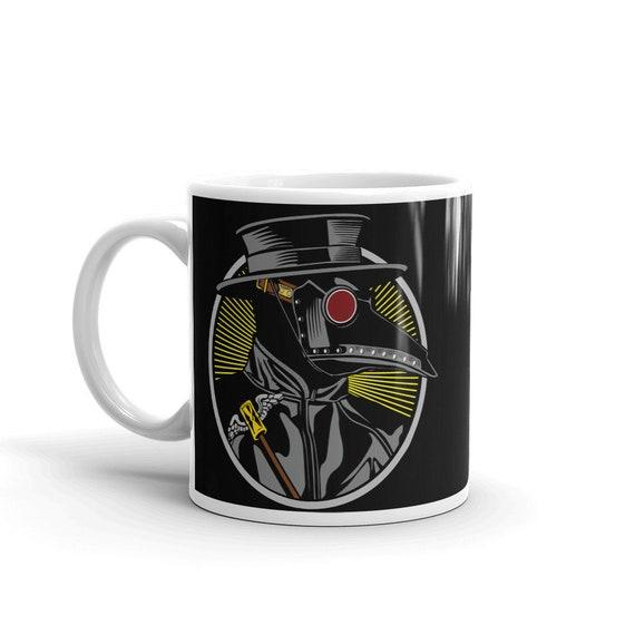 Plague Doctor, White Ceramic Mug, Vintage Inspired Image