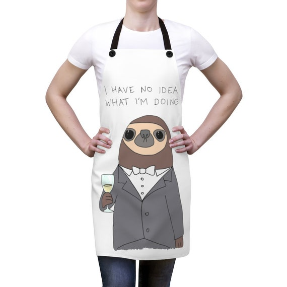 Confused Sloth Cookout Apron, Funny Apron For Those Who Feel Out Of Place