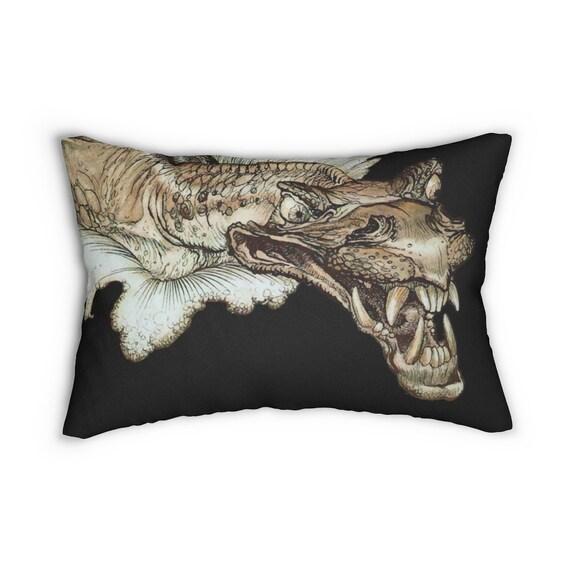 Leviathan Lumbar Pillow, Arthur Rackham, Sea Dragon, Sea Monster, Sea Serpent