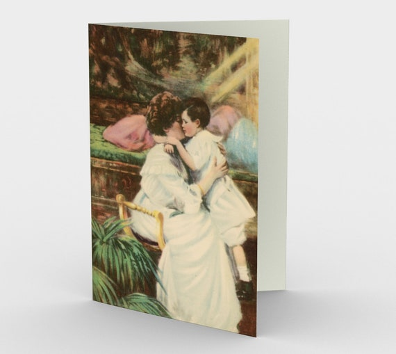 A Mother's Love - Mother's Day Stationery Cards (3), With An Image From An Antique Vintage Postcard, Circa 1910.