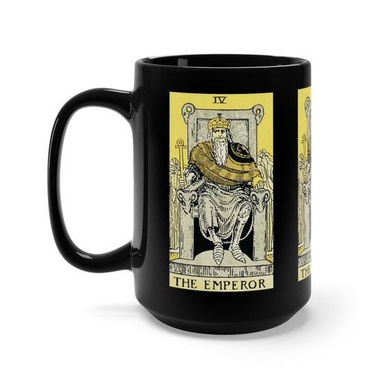 The Emperor, Black 15oz Ceramic Mug, Tarot Card, Major Arcana, From Vintage Rider-Waite Deck, Coffee, Tea