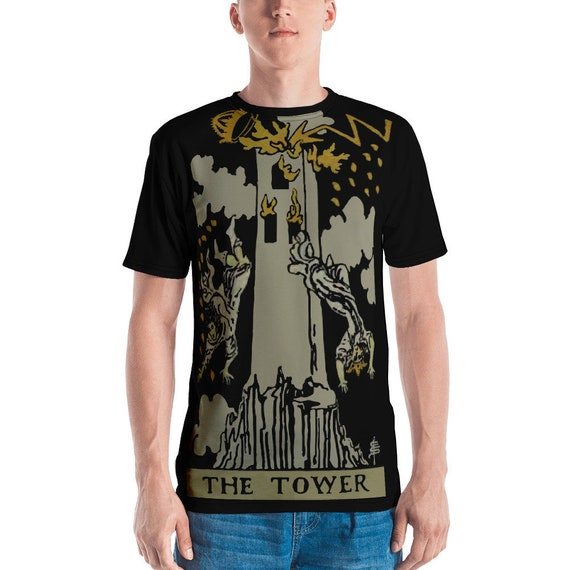 The Tower Tarot Card, Unisex T-shirt, Vintage, Antique Illustration, AOP