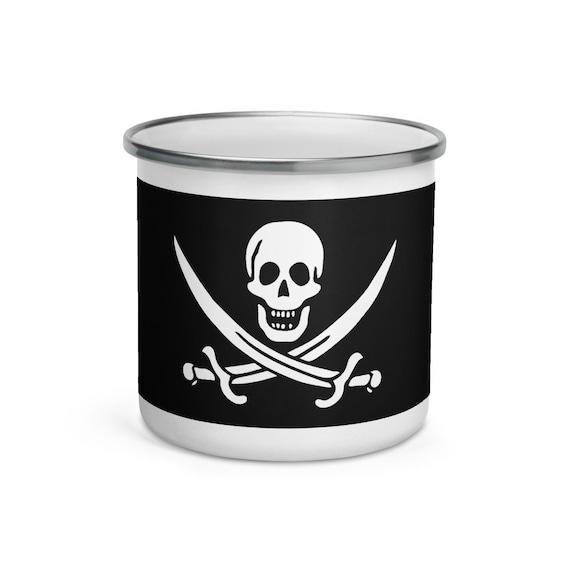 Skull & Crossed Cutlasses, Enamel Mug, Camp Mug, Pirate Flag, Jolly Roger, Outdoor, Coffee, Tea