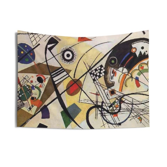Transverse Line, Indoor Wall Tapestry, Vintage Abstract Painting, Wassily Kandinsky, 1923, Wall Decor, Room Decor
