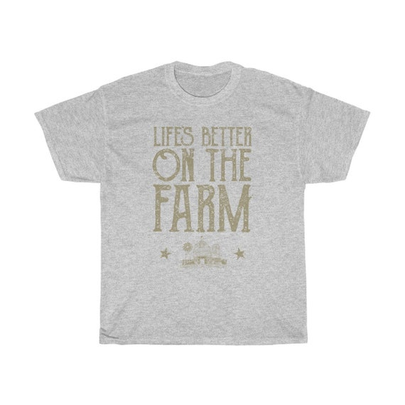 Life's Better On The Farm - Unisex Heavy Cotton Tee With Vintage Inspired Image Of A Farm.
