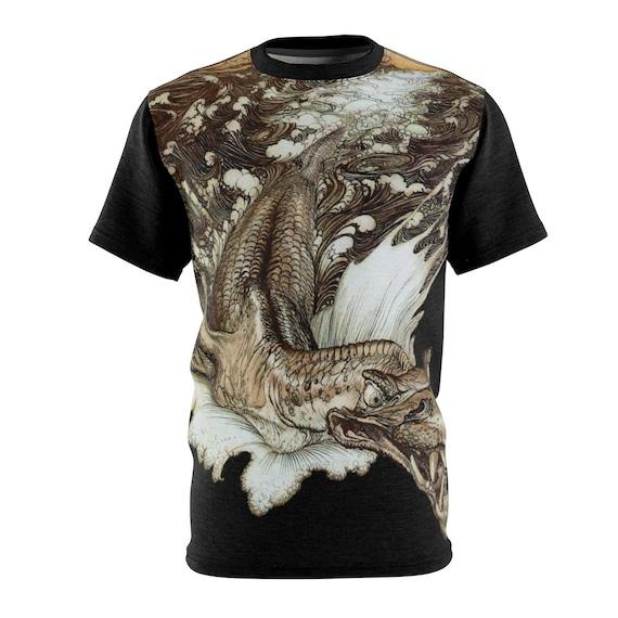 Leviathan T-shirt, Arthur Rackham, Sea Dragon, AOP, Sea Monster