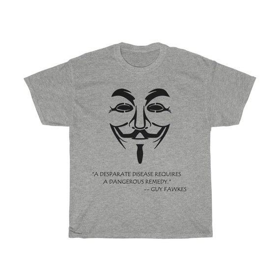 Guy Fawkes, Unisex Heavy Cotton T-Shirt, Lighter Colors, Inspired From V For Vendetta Movie, Activism