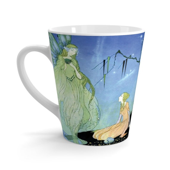 Old French Fairy Tales, White 12oz Ceramic Latte Mug, Vintage Illustration, Virginia Frances Sterrett, 1920