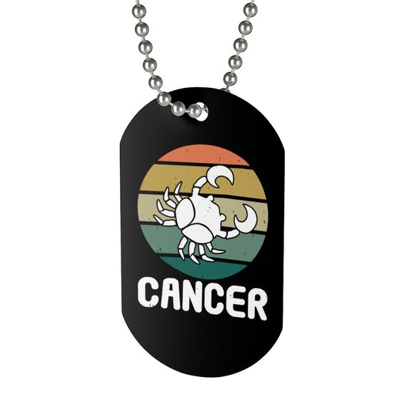 Cancer, Aluminum Dog Tag, Retro Vintage Style, Zodiac Sign, Astrology Gift, Necklace, Keychain