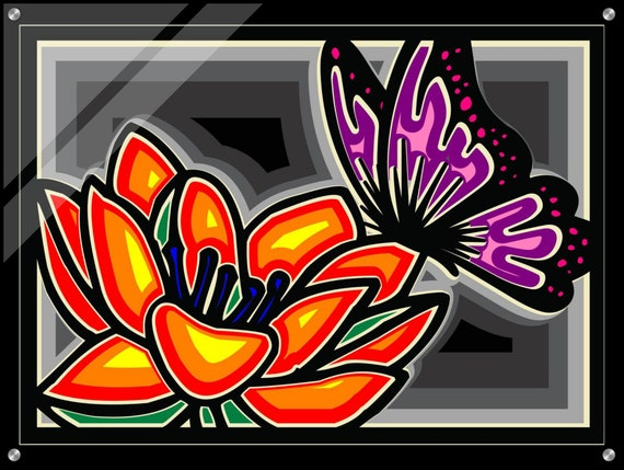 "Butterfly Flower 32""x24"" Acrylic Print, Room Decor"