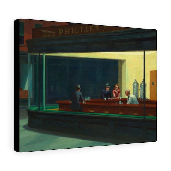 "Nighthawks Diner 16""x12"" Canvas Gallery Wrap, Edward Hopper, Night Owls, Insomniacs, Americana"