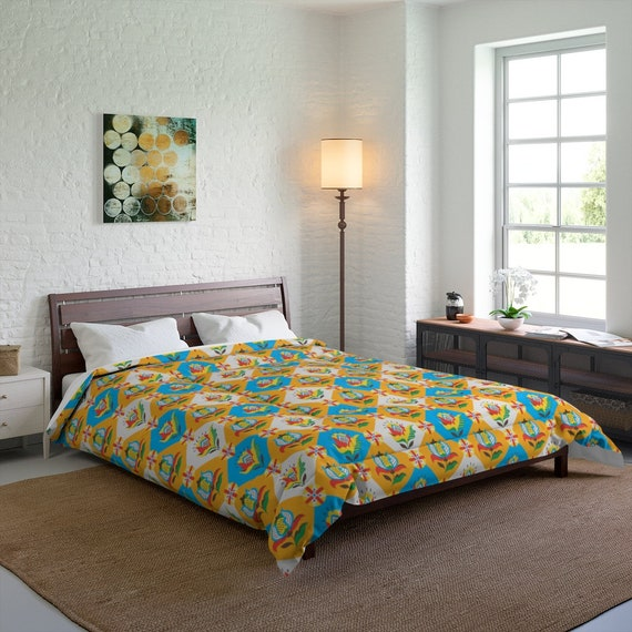Folk Flower Patchwork Quilt Pattern, Queen Comforter, Farmhouse, Country Decor