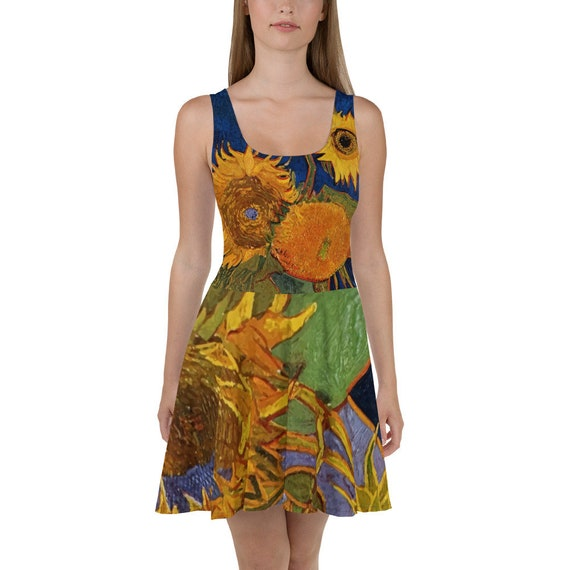 Six Sunflowers, Skater Dress, Vintage Painting, Vincent Van Gogh, 1888