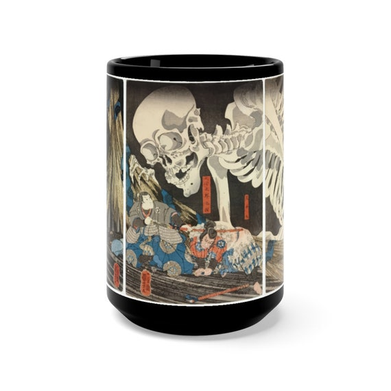 The Witch And The Skeleton Specter Large Black Ceramic Mug, Vintage Japanese Woodcut, Coffee, Tea