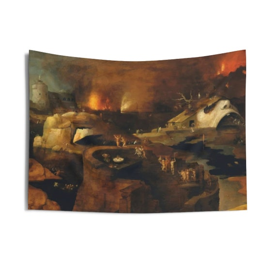 "Descent Into Hell, 36""x26"" Indoor Wall Tapestry, Painting By Follower Of Hieronymus Bosch, Circa 1550, Wall Decor, Room Decor"