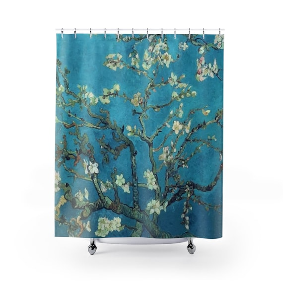 Almond Blossoms, Polyester Shower Curtain, Vintage Painting, Van Gogh 1890