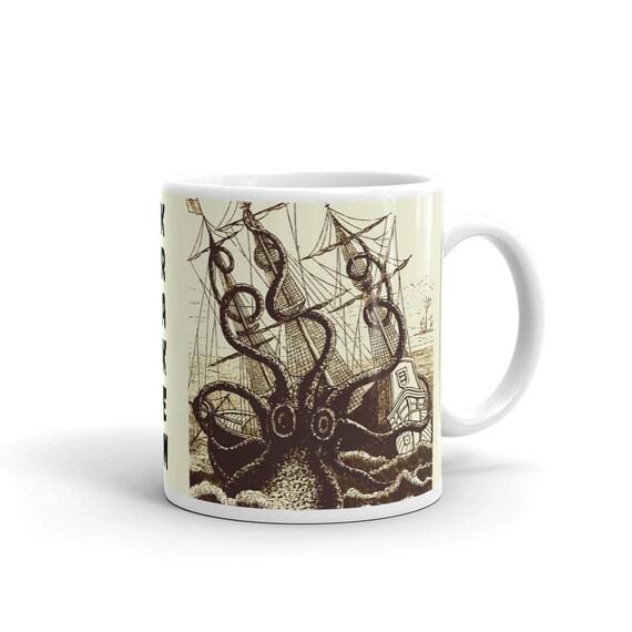 Kraken Attacks Ship, Coffee Mug, Vintage, Antique Illustration, Pierre Denys de Montfort, 1801