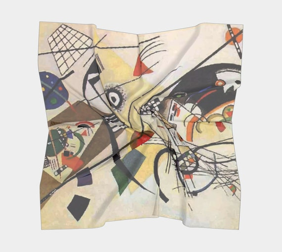 Transverse Line, Silk Scarf, Square, 4 Sizes, Wassily Kandinsky, Abstract