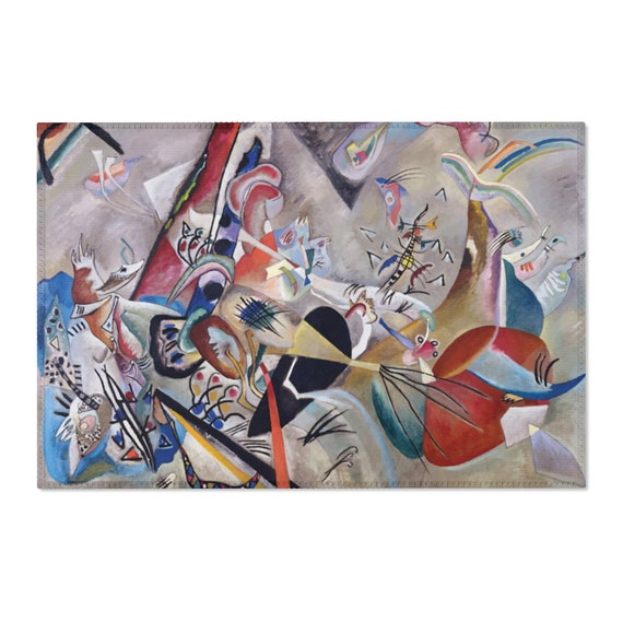 In Grey, 2'x3' Door Mat & 4'x6' Area Rug Sizes, Vintage Abstract Painting, Wassily Kandinsky, 1919