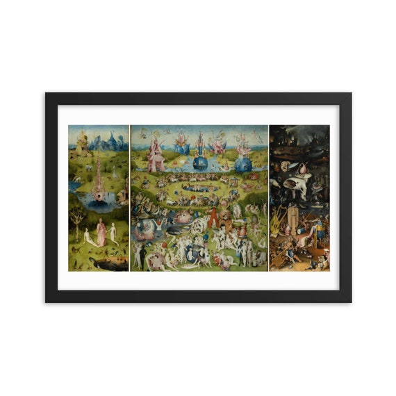 """Garden Of Earthly Delights, 18""""x12"""" Framed Poster, Black Wood Frame, Acrylic Covering, Hieronymus Bosch, Room Decor"""