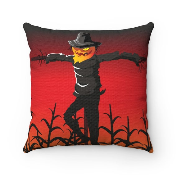 Scarecrow In Wheat Field Square Pillow, Jack-O-Lantern, Halloween, All Hallows Eve