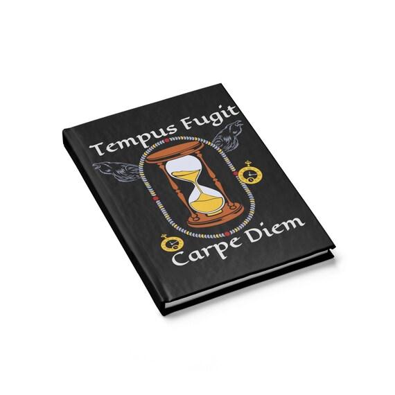 Tempus Fugit, Carpe Diem, Hardcover Journal, Opens Flat, Ruled Line, Time Flies So Sieze The Day, Notebook