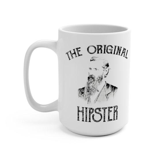 The Original Hipster, White 15oz Ceramic Mug, Vintage Image, Bearded Man