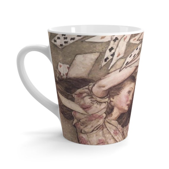 Alice Overwhelmed By The Cards, 12oz Latte Mug, Vintage Illustrations, Arthur Rackham, 1907