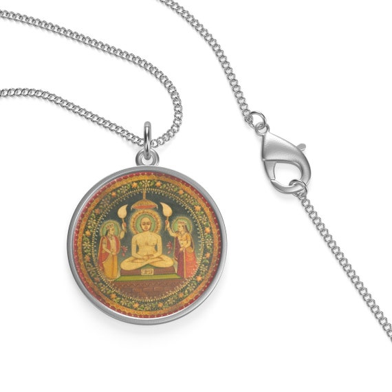 Mahavira Mandala, Sterling Silver Necklace, Indian Spiritual Leader Meditating In The Lotus Position
