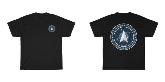 Space Force Insignia Logo v2, Unisex Heavy Cotton T-shirt, Front Small Logo, Back Large Logo, From Official USSF Seal, Military