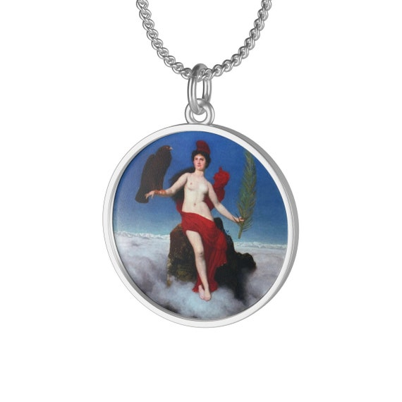 Helvetia, Sterling Silver Necklace, Antique Painting, Swiss Lady Of Freedom