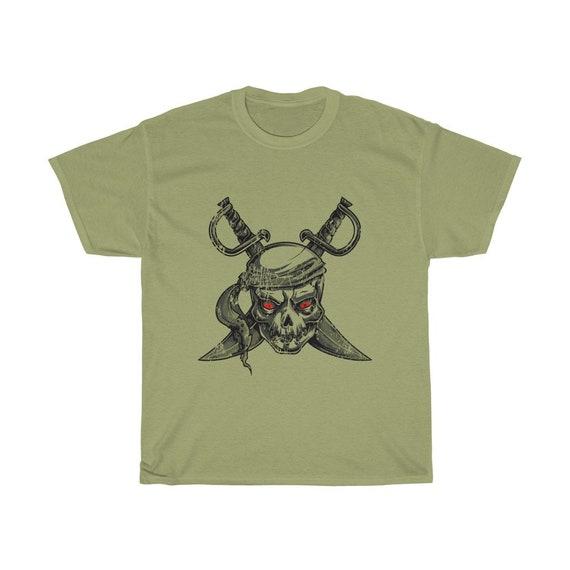 Grunge Pirate Skull Unisex T-shirt, Crossed Cutlasses, Red Eyes, Distressed Image