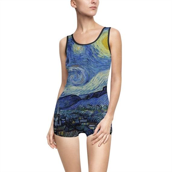 Starry Night, Women's Vintage Swimsuit, Vincent Van Gogh, 1889
