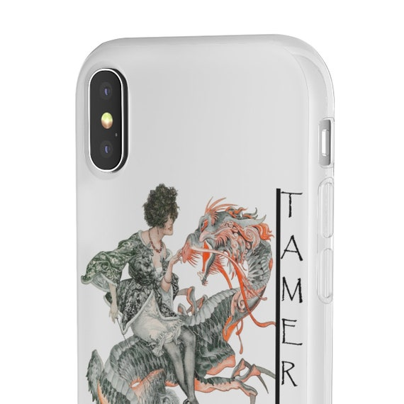 Tamer Of Dragons - iPhone Flexi Case - Woman Riding A Dragon - From An Antique Vintage Illustration, Circa 1920.