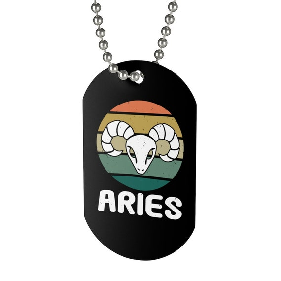 Aries, Aluminum Dog Tag, Retro Vintage Style, Zodiac Sign, Astrology Gift, Necklace, Keychain