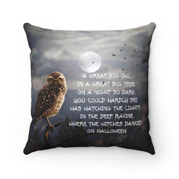 Great Big Owl, Square Pillow, Halloween, Full Moon