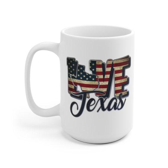 I Love Texas, Large White Ceramic Mug, Vintage Retro Flag, Patriotic, Patriotism, United States, Coffee, Tea