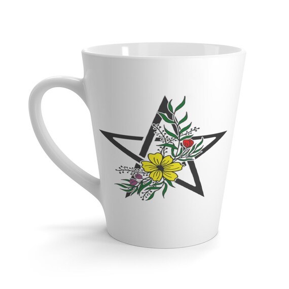 Pentagram Wild Flowers Latte Mug, Magick, Pagan, Wicca, Witch, Witchcraft, Christian Religion