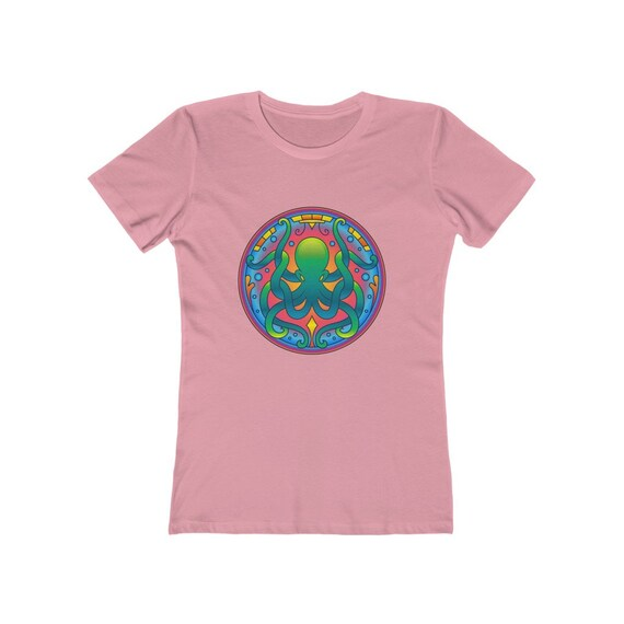 Octopus Mandala Women's Boyfriend Tee, Kraken Sea Monster
