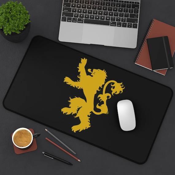 Gold Lion Rampant On A Black Field Desk Mat