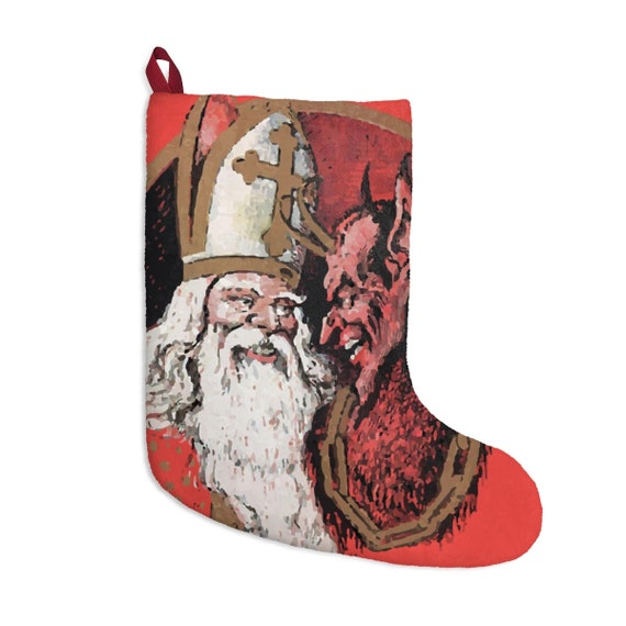 St. Nicholas & Krampus, Christmas Stocking, Vintage Image, German Postcard, XMAS Gift
