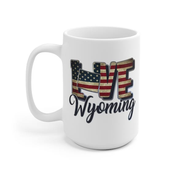 I Love Wyoming, Large White Ceramic Mug, Vintage Retro Flag, Patriotic, Patriotism, United States, Coffee, Tea
